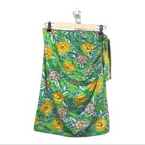 UNGARO TER Vintage Floral Cotton Skirt Green 46/12